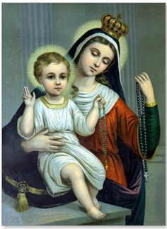 Mother Mary and Child Jesus with the Rosary