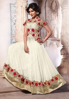 Off White Faux Georgette Abaya Style Churidar Kameez