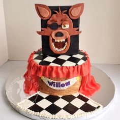 Five Nights at Freddy's Foxy Cake. Made by The Cake Mom & Co. #fanaf #foxy #cake http://thecakemom.com