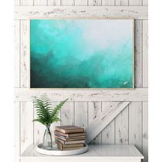 Watercolor Print, Abstract Art, Teal Abstract Watercolor, Abstract... (92 BRL) ❤ liked on Polyvore featuring home, home decor, wall art, inspirational wall art, sea painting, sea home decor, inspirational paintings and teal home decor