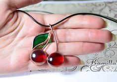 Fruit jewelry fruit pendant cherry necklace stained glass