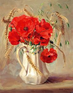 floralart.quenalbertini: Poppies in a White Jug by Anne Cotterill