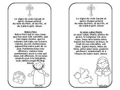 Four bookmarks containing prayers in French:The Lord's Prayer (Notre Pre)Hail Mary (Je vous salue Marie)Glory Be  (Gloire au Pre)Guardian Angel Prayer  (Prire au saint ange gardien)Sign of the Cross  (Le signe de Croix) Great for French Immersion students.