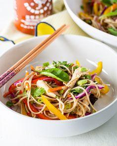 Soba Noodle Salad Raw Vegetables, Veggies, Japanese Salad, Quick Dip, Soba Noodles, Noodle Salad, Shredded Carrot, Salad Ideas, Rice Vinegar