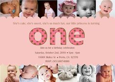 1st Birthday Invitations. Cute idea to do a pic for each month of their first year!