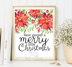 Holiday printable decoration Merry little by LittleEmmasFlowers