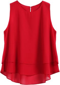 Red Round Neck Loose Dip Hem Chiffon Tank Top