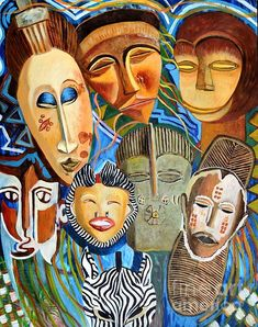African Eclectic by Caroline Street Eclectic Paintings, Eclectic Artwork, African Masks, African Art, Mask Painting, Sun Art, Still Life Art, Figurative Art, Art For Sale