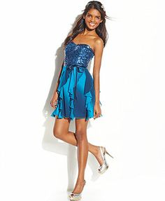 Speechless Juniors' Strapless Sequin Ruffled Dress   www.thepromenadebolingbrook.com