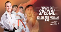 """FATHER'S DAY SPECIAL! Location Dads: Take 50% off ANY of our Amazing Martial Arts & Fitness Programs. Good for ALL Kids & Adult Classes!!! Click here to check out our awesome classes, then enter promo code """"Just-For-You"""" at checkout to INSTANTLY save 50%! http://www.masterdavecsd.com/"""