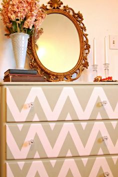 Chevron Dresser love the mirror and vase