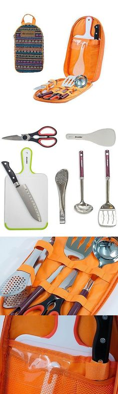 Camping Cooking Utensils 87133: Camping Bbq Travel Cooking Utensils Set Cutting Board Knife Scissors Tongs 7Pcs BUY IT NOW ONLY: $31.24