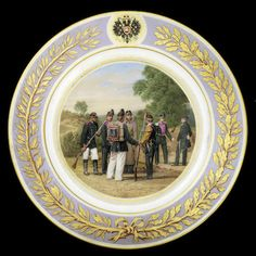 A porcelain military plate Imperial Porcelain Factory, painted by V. Kirsanov, St. Petersburg, period of Alexander II, 1871.