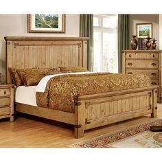Furniture of America Cauble Antique Pine Bed | from hayneedle.com