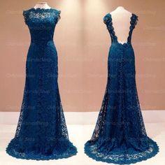 Prom Dresses Long, mermaid lace prom dress, lace prom dress, elegant prom dress, backless prom dress, prom dress 2017