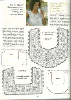 crochet yoke for t shirt - Salvabrani Col Crochet, Gilet Crochet, Filet Crochet Charts, Crochet Motifs, Crochet Fabric, Crochet Collar, Crochet Diagram, Crochet Cardigan, Thread Crochet