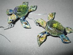 One pair of Sea Turtle Earrings Blown glass by Glassnfire on Etsy
