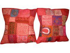 Boho Throw Pillow Shams, Red Sari Cushion Covers $19.99