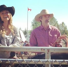 Amber with Shaun Johnston at the June 10th Heartland rodeo set