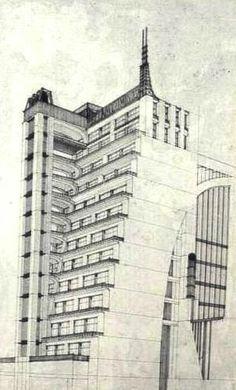 Antonio Sant'Elia, maison à gradins avec ascenceurs extérieurs, 1914