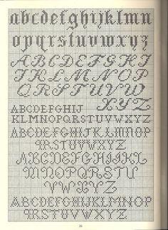 Korsstingsbokstaver i ulike varianter