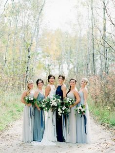 Brittany and Russ' Blue, Grey, and Neutral Wedding Brittany Mahood Photography Wedding Sparrow Grey Bridesmaids, Mismatched Bridesmaid Dresses, Different Colour Bridesmaid Dresses, Bridesmaid Gowns, Blue Wedding Colour Theme, Wedding Colors, Wedding Flowers, Wedding Bouquet, Blue Grey Weddings