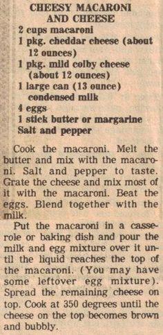 Cheesy Macaroni and Cheese (bake mac and cheese southern) Retro Recipes, Old Recipes, Vintage Recipes, Great Recipes, Cooking Recipes, Favorite Recipes, Blender Recipes, 1950s Recipes, Al Dente