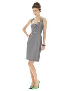 Cocktail length dupioni halter dress w/  slim skirt. Matching belt. Dress also available full length as style D605. Sizes available: 00-30W, and 00-30W extra length.  http://www.dessy.com/dresses/bridesmaid/D604/