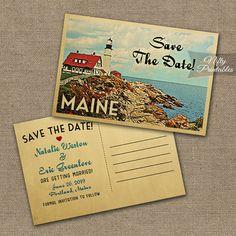 Maine Save The Date Postcards - Printable Maine Wedding Postcard - Retro Lighthouse Save The Date Cards VTW