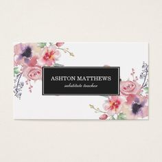 Shop Boho Watercolor Floral Bouquets Business Card created by Personalize it with photos & text or purchase as is! Wreath Watercolor, Watercolor Flowers, Business Card Design, Business Cards, Solid Black Background, Wedding Event Planner, Floral Bouquets, Boho, Substitute Teacher