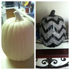 Spray paint pumpkin, tape off design, use spray adhesive and glitter, then spray with clear gloss! So easy and fun!