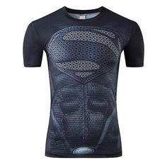 Superman 3D Print Short-Sleeved Fitness T-Shirt