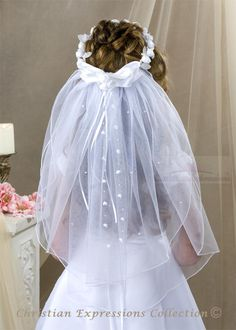 First Communion Headpieces | First Communion Wreath Veils-V808