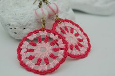 Crochet earrings in Pink and Fuchsia- Crochet jewelry - Fashion crochet - Large earrings - Textile jewelry - Big earrings