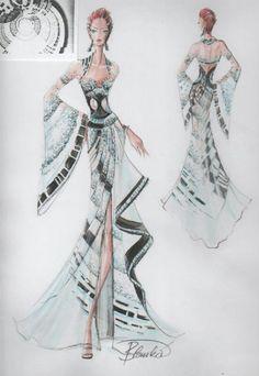 Blanka Matragi - sketch of dresses Illustration Mode, Fashion Illustration Sketches, Fashion Design Sketches, Moda Fashion, Fashion Art, Fashion History, Fashion Pictures, Costume Design, Dress To Impress