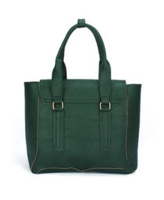 Green Tote Bags with Double Zipped Detail