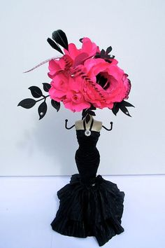 E In The City Inspired Paper Flowers Bridal Shower Hot Pink And Black Centerpieces