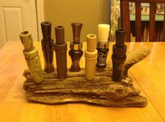 Driftwood duck call holder