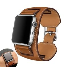 Leather Cuff Strap For Apple Watch Band for iWatch Series 4 3 2 1 Apple Watch Sizes, Apple Watch Series 1, Cool Watches, Watches For Men, Popular Watches, Apple Watch Bands Fashion, Leather Cuffs, Leather Skin, Brown Leather