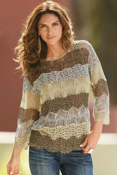 Crochet top or sweater with hairpin lace