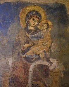 """She who Shows the Way (""""Virgin and Child"""" - this medieval fresco is in the basilica of St Bartholomew in Rome) Cool Jesus, Jesus Christ Images, Religious Paintings, Blessed Mother Mary, Mary And Jesus, Madonna And Child, Art Icon, Medieval Art, Sacred Art"""