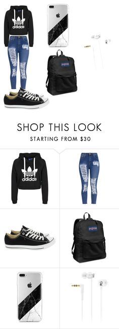 """School"" by shortyy-lupita ❤ liked on Polyvore featuring Converse, JanSport and Sennheiser"