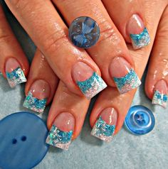 Silver and light blue glitter French