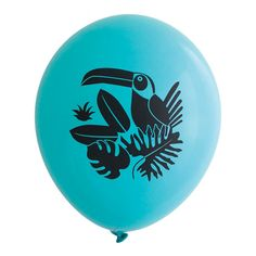 Black Toucan on Aqua Party Balloons Pkg of 3 PB1106 by RevelAndCo