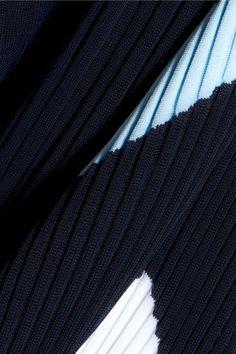Versace - Intarsia Ribbed-knit Midi Dress - Navy - IT40