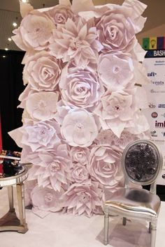 Luxe Event Rentals and Decor: Handmade Paper Flower wall.  What a great backdrop for a ceremony!
