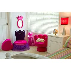 'brooklyns   @Overstock - Plush crown chair is the perfect throne for your perfect princess Kids' chair features a purple tulle skirt Kids' furniture offers a quilted back with hot pink seathttp://www.overstock.com/Home-Garden/Princess-Plush-Kids-Crown-Chair/4389741/product.html?CID=214117 $66.97