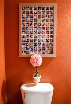 Photo collage framed (not sure why its place of honor is above the toile Teen Bathrooms, Instagram Collage, Collage Frames, Easy Collage, Reno, Photo Displays, My New Room, Sweet Home, Photo Wall