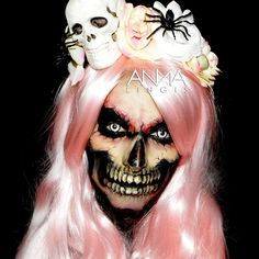 Creepy Cool Makeup Inspiration - Skull Inspired Source Instagram Added this gorgeous baby pink wig from @annabelles_wigs and my SKULL    #halloween #skull #skeleton #macabre #creepy #creepycool #creepygirlsclub #makeup #halloweenmakeup