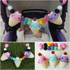 Ice Cream Stroller Mobile Pattern in English, Spanish, French and Swedish (link in bio)